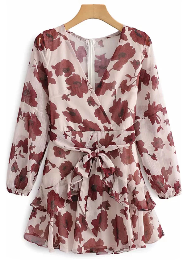 Long Sleeves Short Dress in Blush Floral