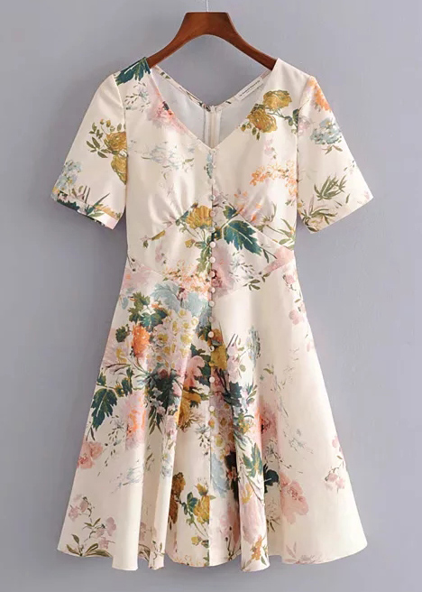 Short Sleeves Dress in Blush Floral