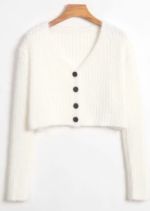 Button Front Crop Knit Cardigan in White