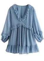 Flounce Detail Short Dress in Blue Dot