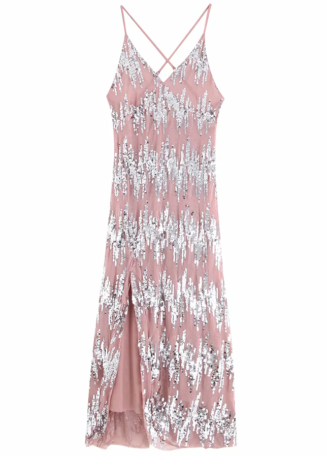Backless Sequined Maxi Dress
