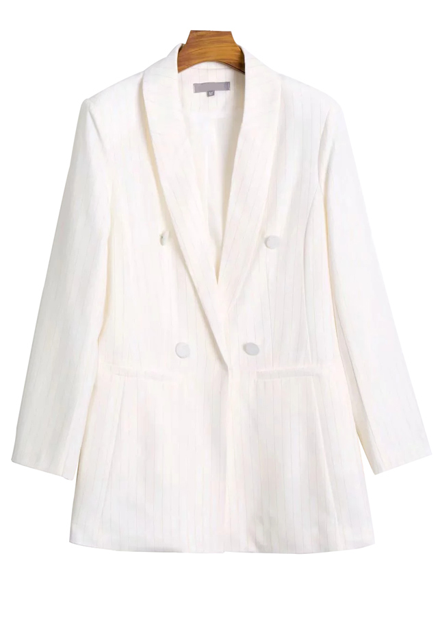 Thread Detail Blazer in White
