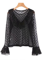 Bell Sleeves Sheer Mesh Blouse in Black