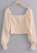 Long Sleeves Crop Blouse in Beige Floral