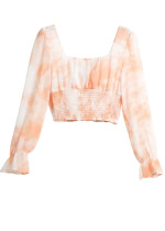 Long Sleeves Floral Crop Blouse ( in 2 Colors )