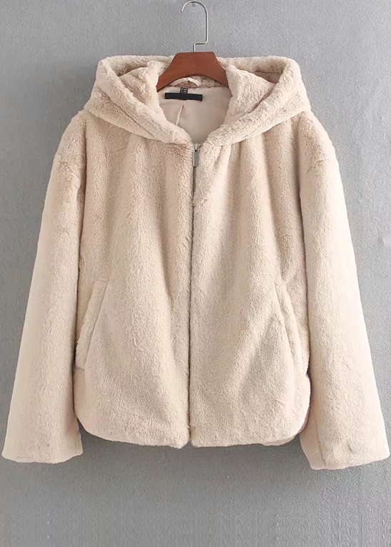 Hooded Shearling Jacket ( in 2 Colors )