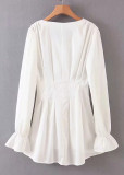 Bell Sleeves Dress in White