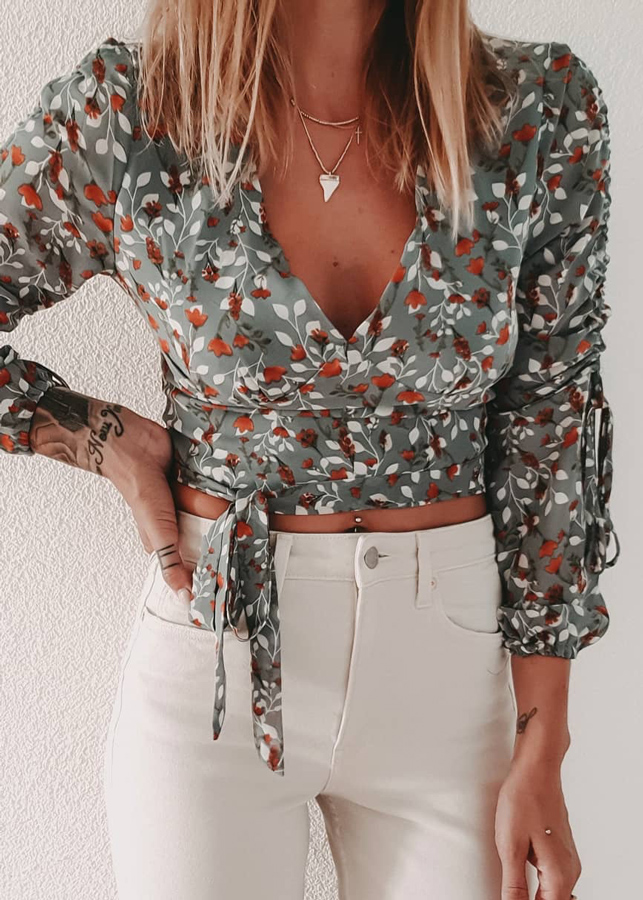 Drawstring Sleeves Floral Blouse