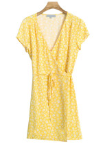 Wrap Dress in Yellow Floral