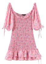 Smock Short Dress in Pink Floral