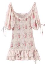 Smock Short Dress in Beige Floral