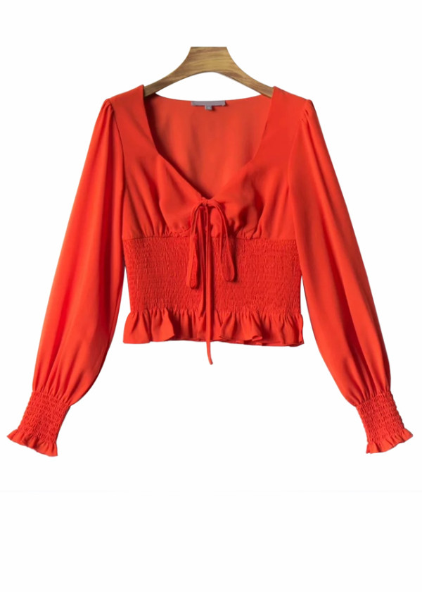 Smock Waist Crop Blouse ( in 2 Colors )