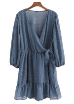 Long Sleeves Texture Dress in Blue