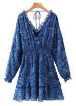 Long Sleeves Dress in Blue Floral