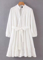 Long Sleeves Embroidered Dress in White