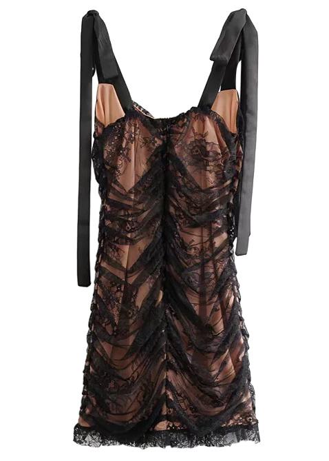 Lace Mini Dress in Black