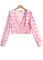 Long Sleeves Crop Blouse in Pink