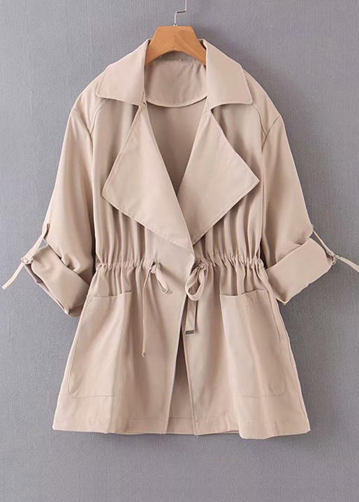 Drawstring Waist Trench Coat in Camel