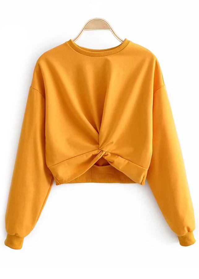 Knot Front Sweatshirt in Yellow