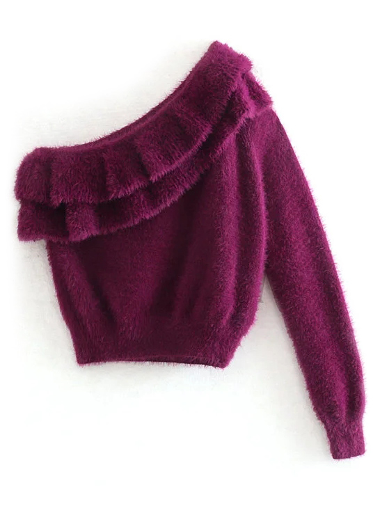 One Shoulder Sweater in Purple