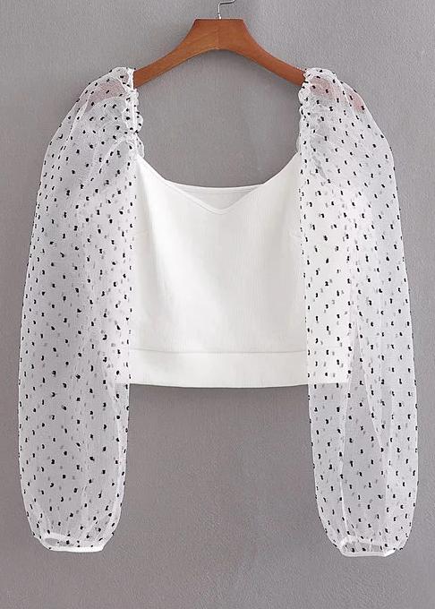 Sheer Mesh Sleeves Blouse in White
