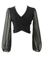 Tie Back Crop Blouse in Black