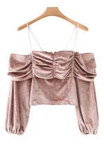 Off Shoulder Velvet Blouse ( in 2 Colors )