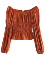 Long Sleeve Blouse in Rust