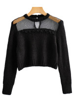 Sheer Mesh Detail Sweater in Black