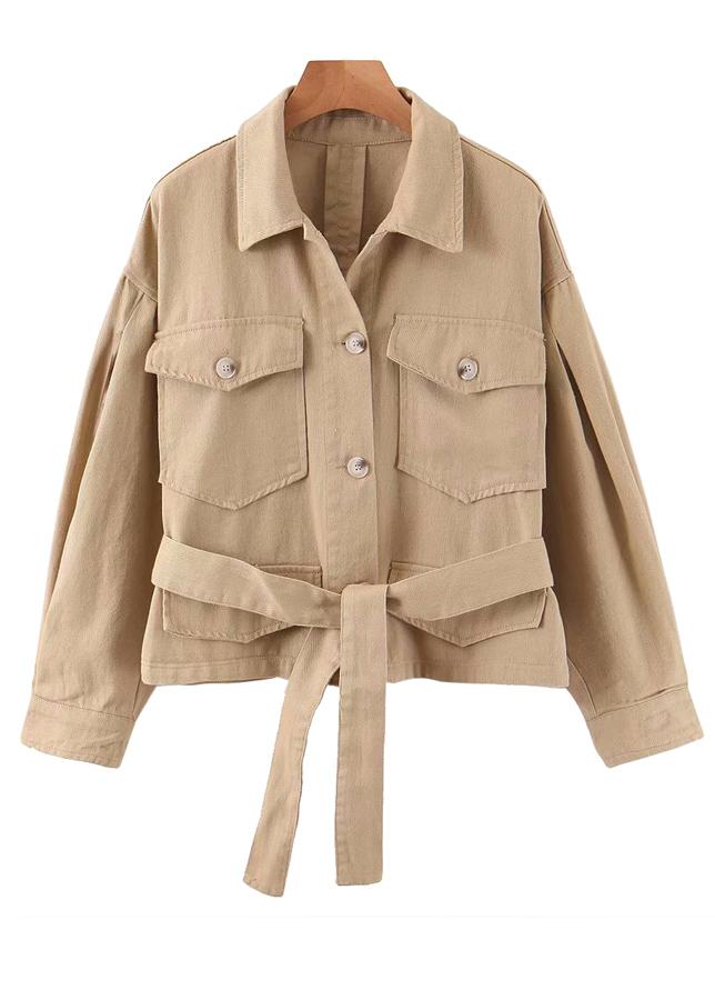 Belted Waist Jacket in Khaki