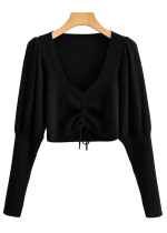 Drawstring Detail Sweater in Black