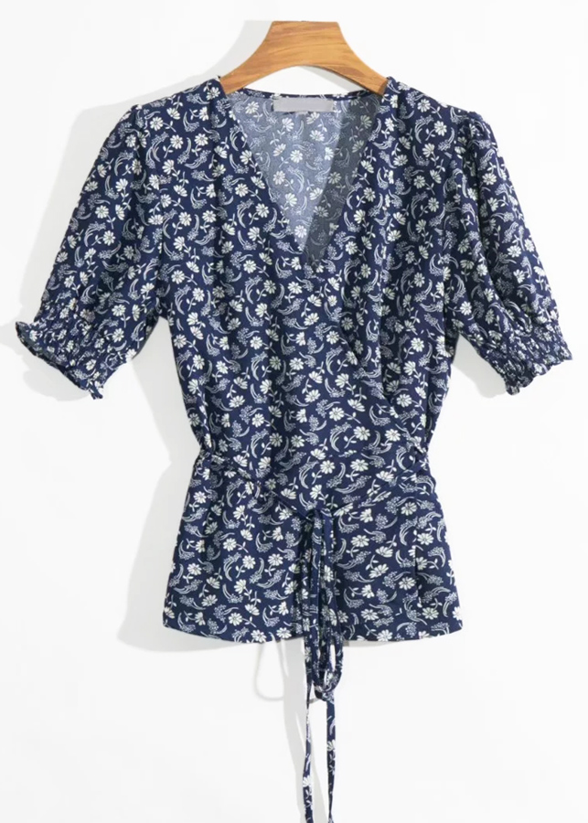 Wrap Top in Navy Floral