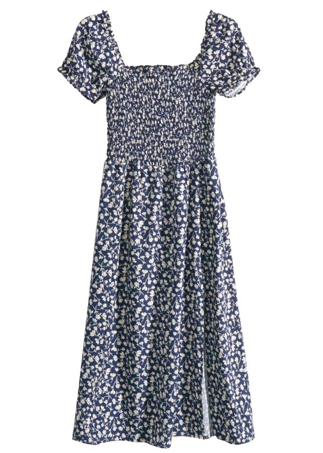 Smock Bodice Midi Dress in Navy Floral