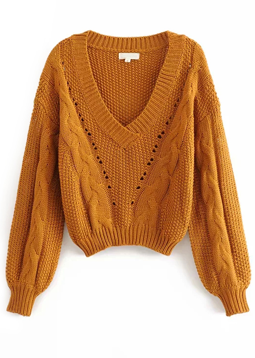 V-Neck Sweater in Caramel