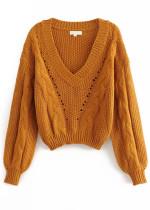 V-Neck Sweater in Caramel