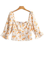 Bell Sleeve Top in Cream Floral