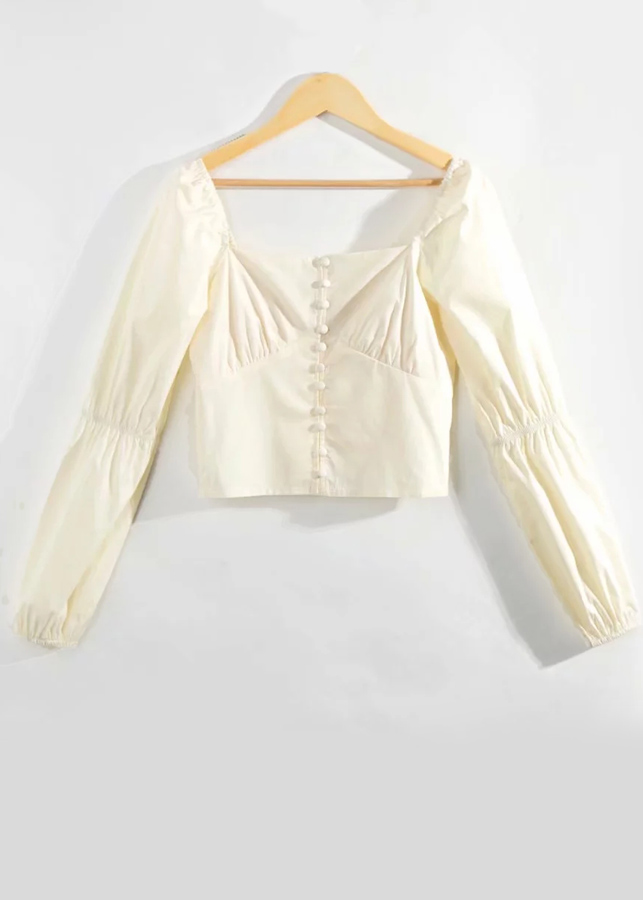Crop Blouse in Pale Yellow