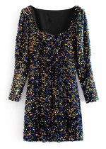 Long Sleeves Sequined Short Dress