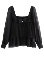 Pleated Blouse in Black