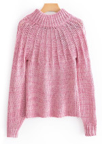 Open Back Mock Neck Sweater in Pink