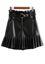 PU Leather Skirt in Black