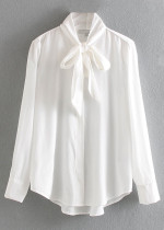 Necktie Detail Blouse in White