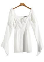 Bell Sleeve Short Dress in White