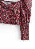 Puff Sleeves Floral Crop Top
