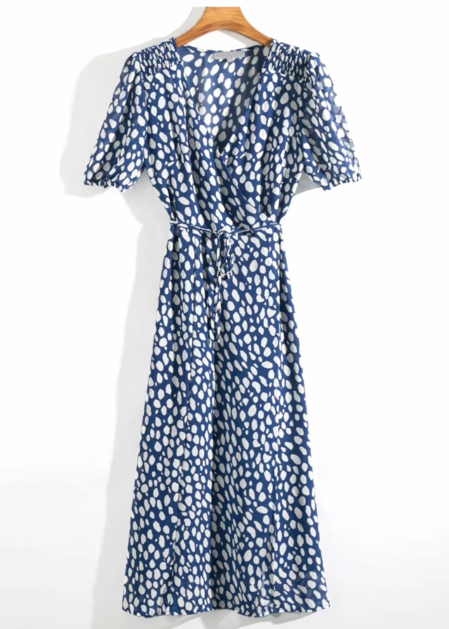 Wrap Front Maxi Dress in Navy Floral