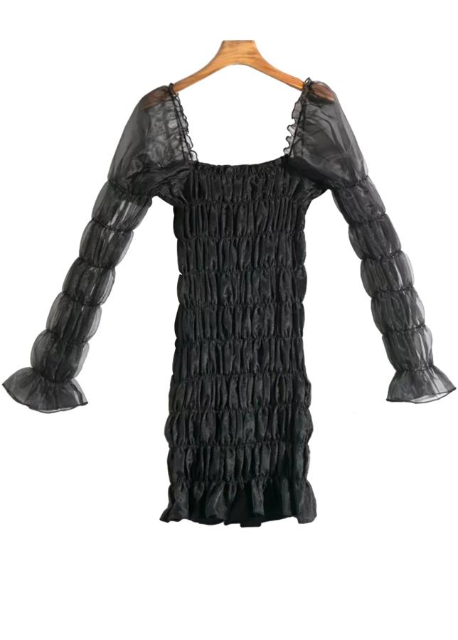Long Sleeves Bodycon Dress in Black