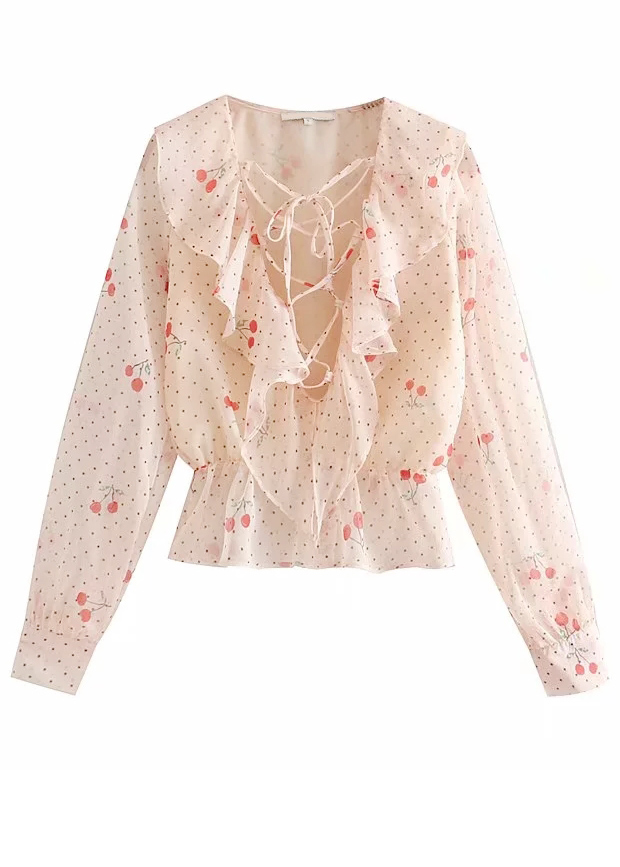 Lace-Up Front Blouse in Blush Floral