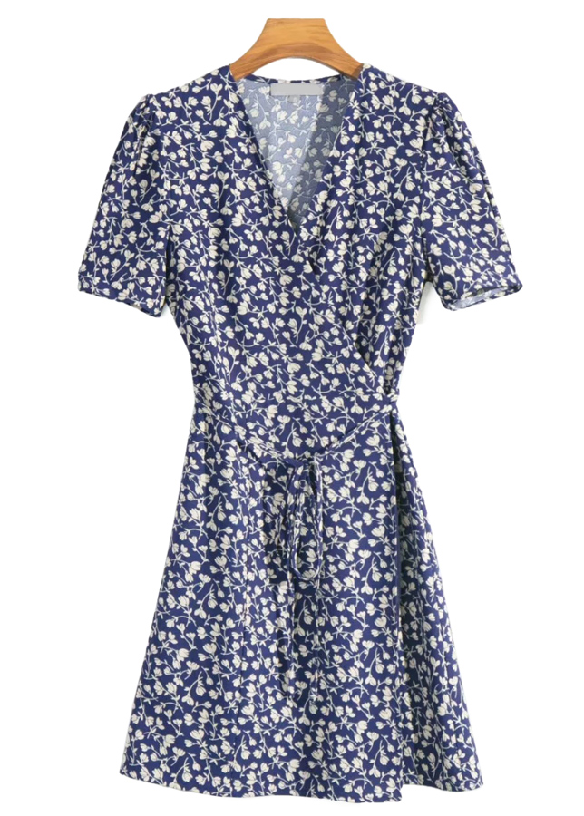 Wrap Dress in Navy Floral