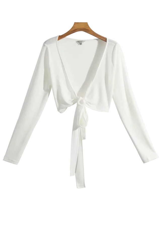 Tie Front Crop Blouse in White