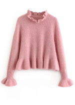 Flounce Detail Sweater in Blush